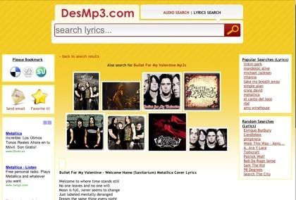 DesMp3, metabuscador de audio y letras de canciones