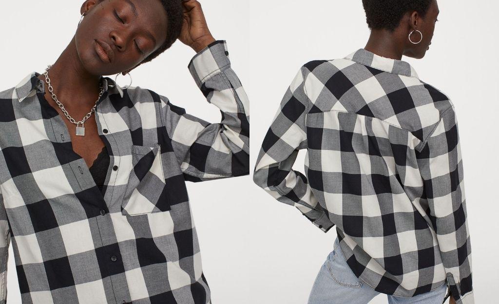 Camisa de algodón de cuadros