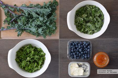 Ensalada de Kale y Arandanos. Pasos