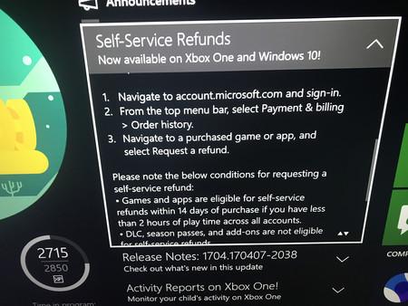 Reembolso Xbox One
