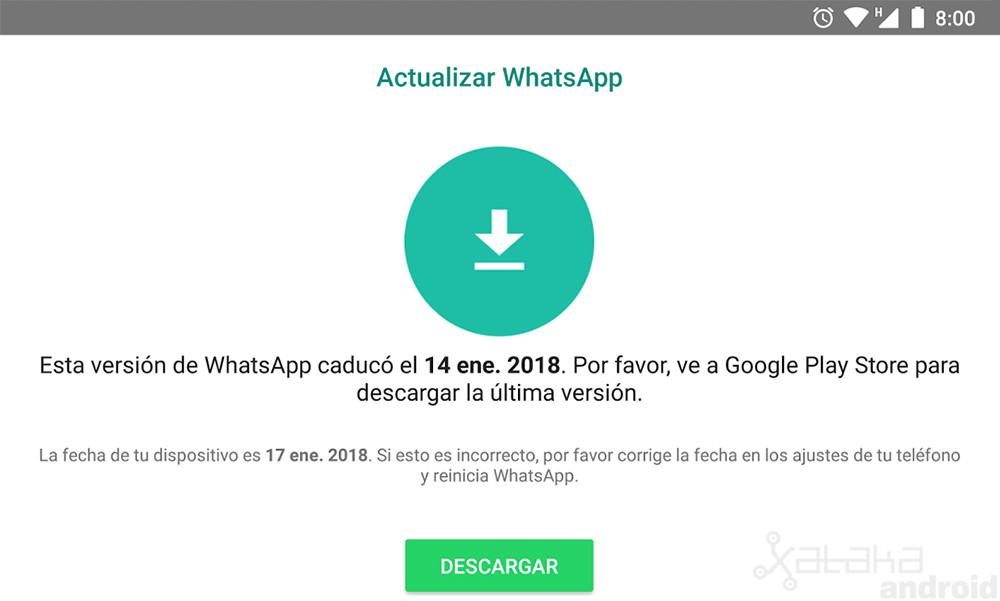 Whatsapp caducado