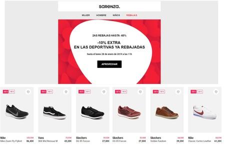 10% de descuento extra en zapatillas ya rebajadas en Sarenza. Los descuentos alcanzan el 60%