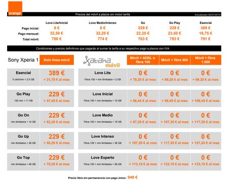 Precios Sony Xperia 1 Con Tarifas Orange