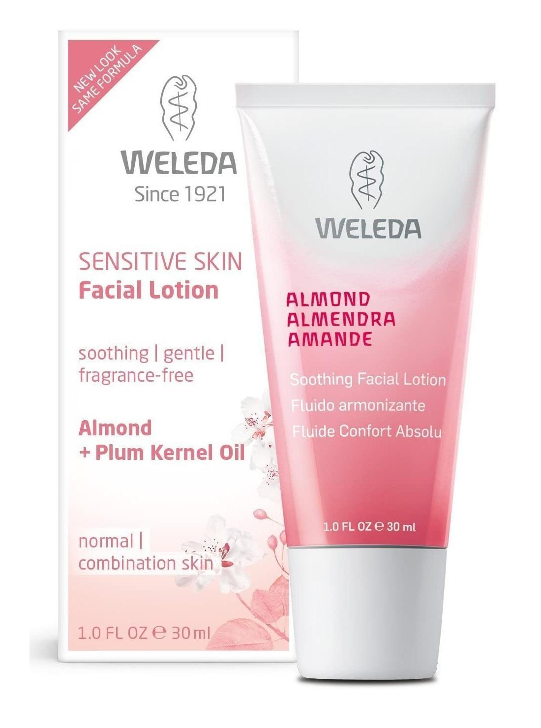 Fluido armonizante para piel sensible con signos de sensibilidad de almendra de Weleda