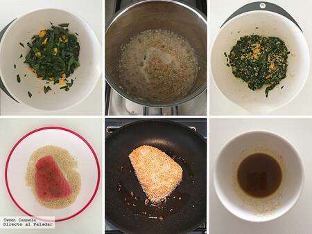 Atún empanizado en ajonjolí con ensalada de quinoa y mango. Receta fácil y saludable