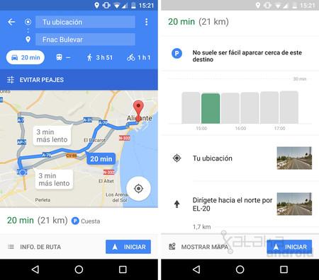 Google Maps ya informa de la dificultad para aparcar en algunas ciudades de España