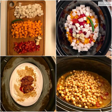 Paso A Paso Curry De Verduras Y Garbanzos En Crock Pot