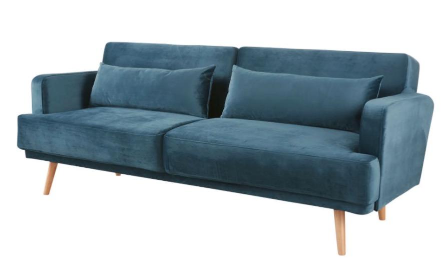 Sofá cama de 3 plazas de terciopelo azul