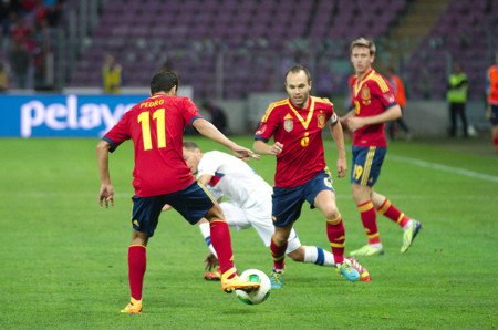 Spain Chile 10 09 2013 Geneva Pedro Rodriguez And Andres Iniesta