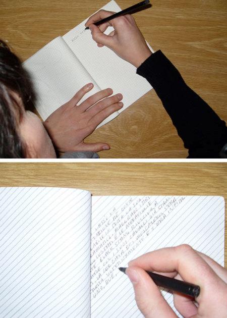 Deja de girar el cuaderno cada vez que escribes