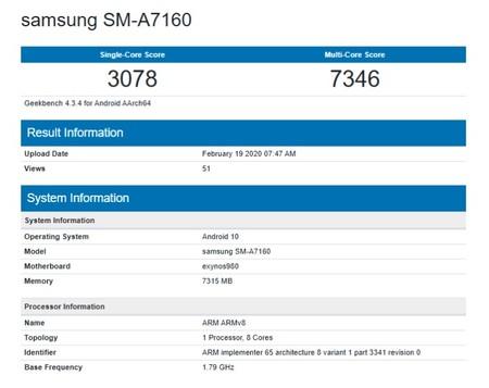 El benchmark filtrado del futuro Galaxy A71 5G