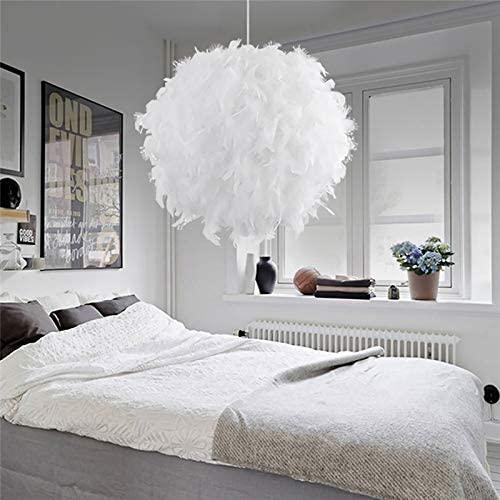 Blanco lámpara de techo de plumas Lámpara de Techo Pluma Colgante Iluminación E27 Lámparas Araña Diámetro 30cm con línea colgante 100cm