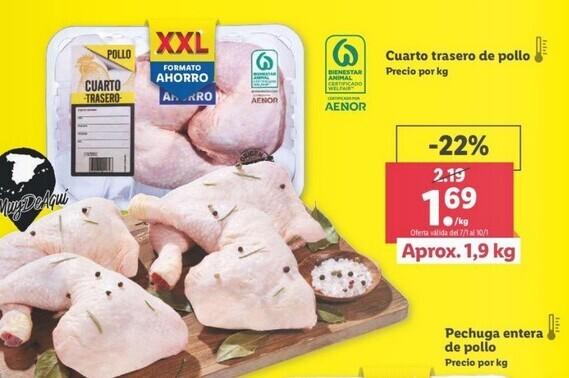 Organizaciones de ganaderos denuncian a Lidl y Family Cash por ofertar el pollo a menos de 2 euros el kilo, lo que incumple la ley