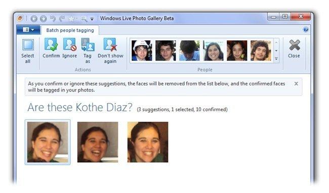 Reconocimiento de rostros en Windows Live Photo Gallery