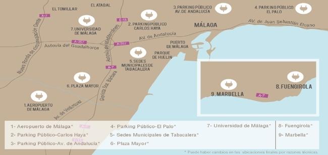 Mapa de puntos de recarga rápida en Málaga ZEM2All