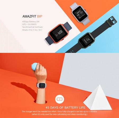 Reloj inteligente Xiaomi Amazfit Bip, en versión internacional, por sólo 44,30 euros con este cupón