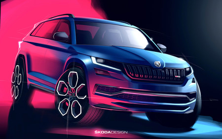 Estos dos bocetos nos muestran por primera vez la imagen del Škoda Kodiaq RS al completo