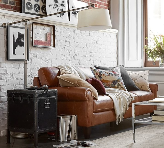 Townsend Roll Arm Leather Sofa Collection 2 O2