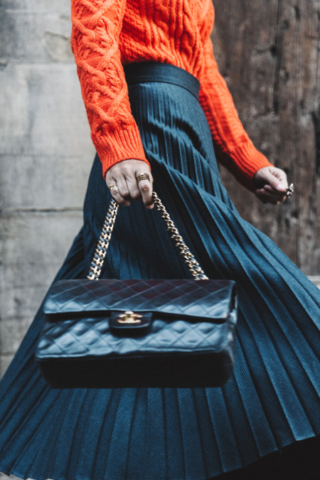 Orange Sweater Midi Skirt Slingback Shoes Chanel Vintage Bag Florence Outfit Street Style 29
