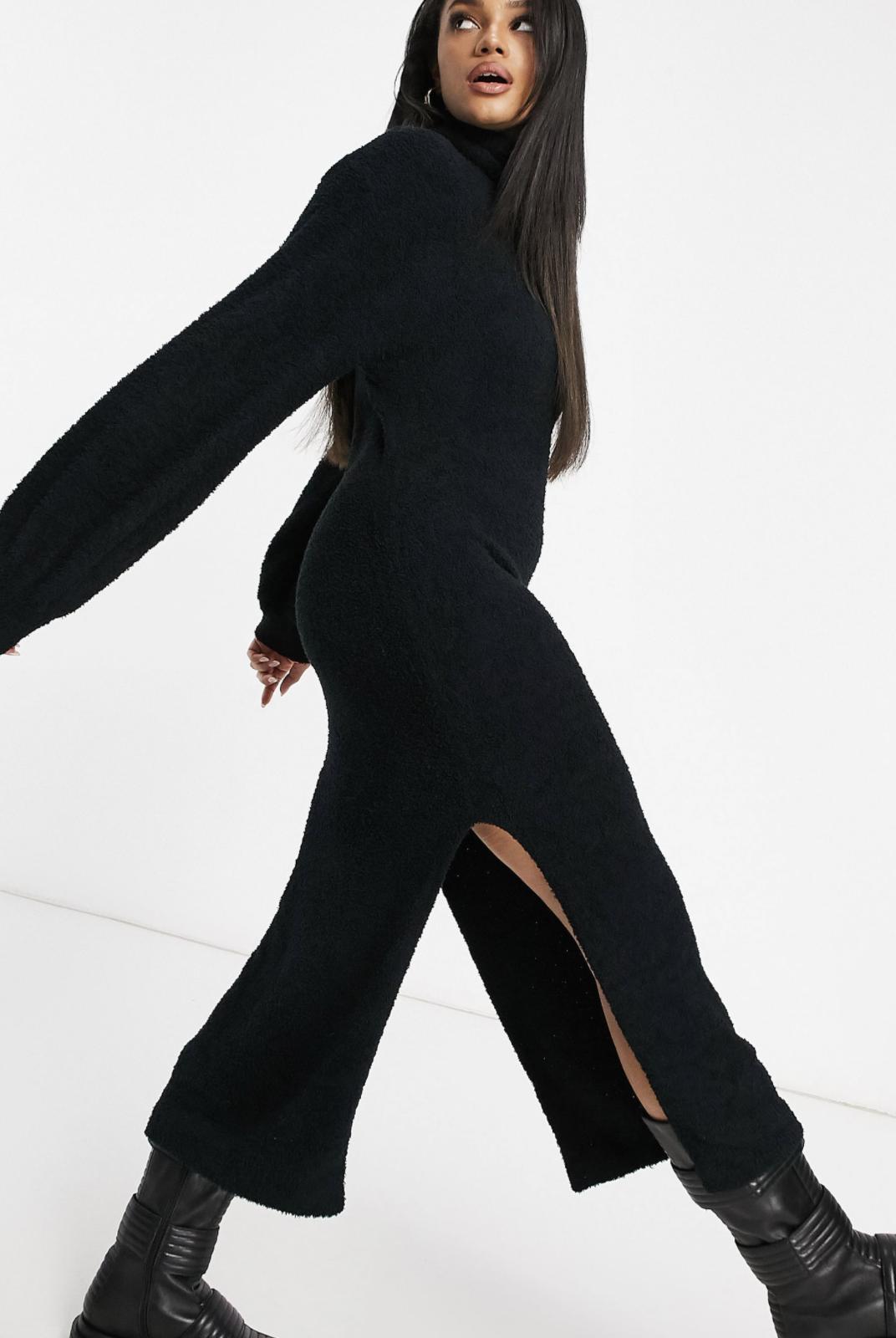 Vestido negro de punto con aberturas laterales de Missguided