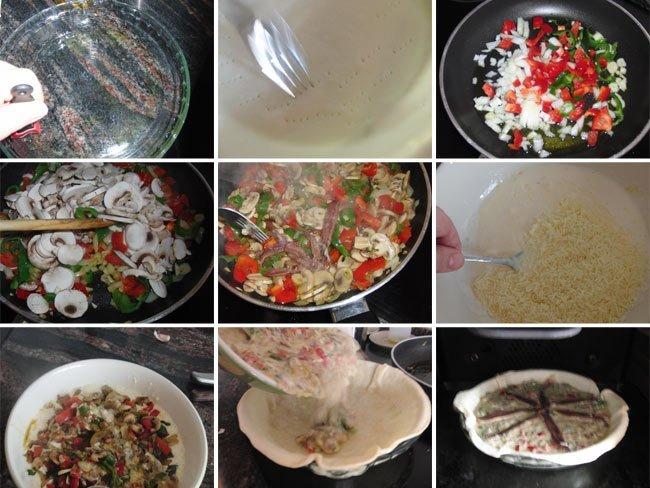 Quiche de pimientos, champiñones y anchoas