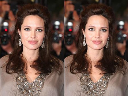 Angelina Jolie con y sin lunar