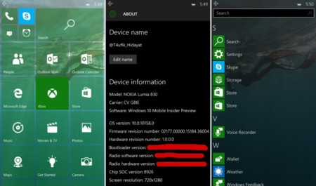 Se filtran aun más datos y capturas de la Windows 10 Mobile build 10158