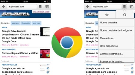 Vista normal de Chrome y el menú de opciones
