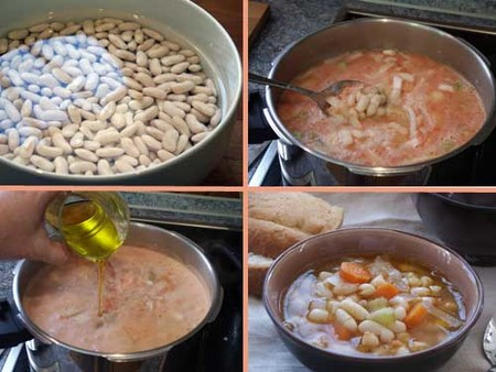 Fassolada o sopa de alubias. Elaboración