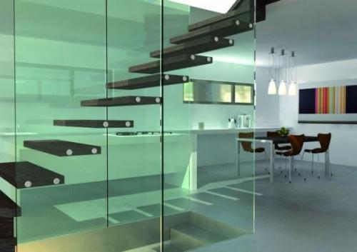 una buena idea cristal para aligerar el peso de la escalera en un dplex
