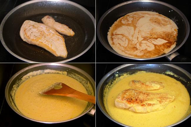 Receta de pollo en sala de mostaza sin lactosa. Pasos