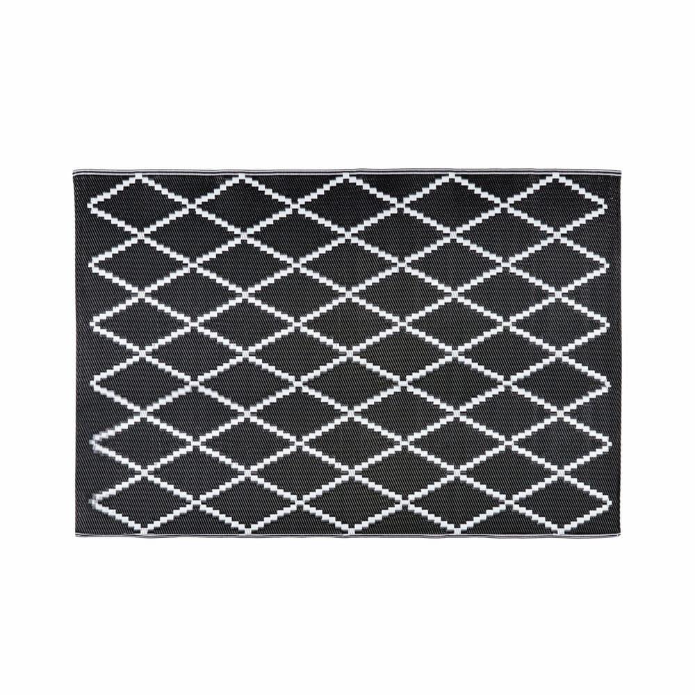LOSIA.- Alfombra de jardín con motivos en blanco y negro 180x270 cms