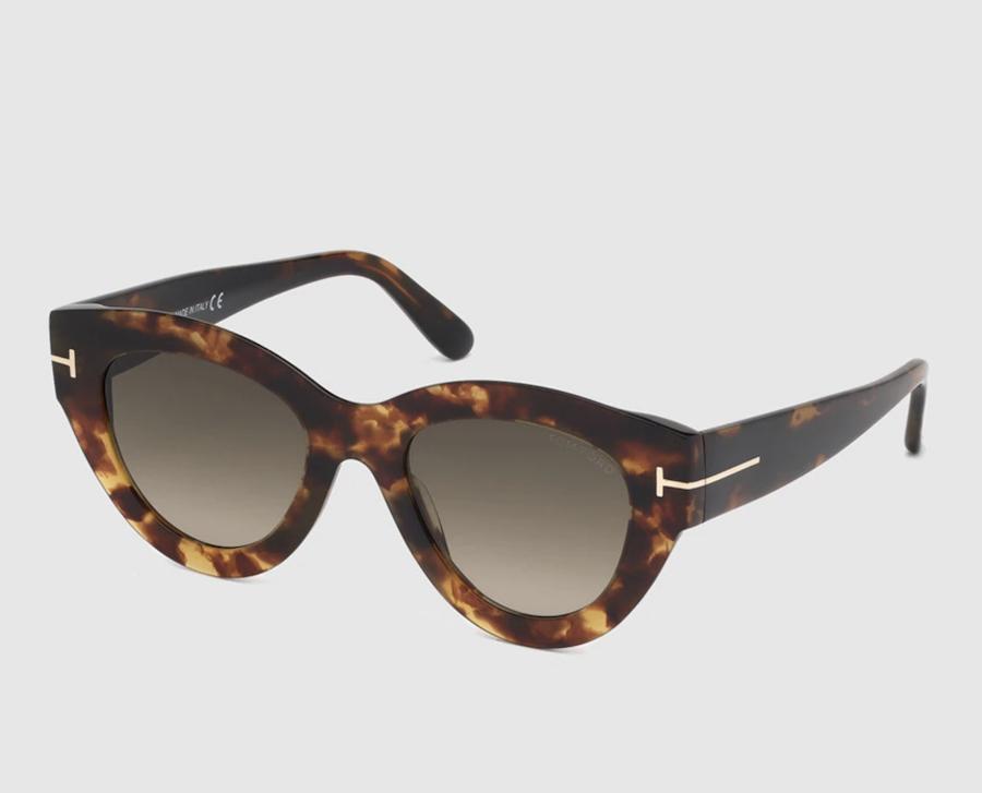 Gafas de sol de mujer Tom Ford cat eye de acetato en havana con varillas anchas