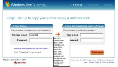 TrueSwitch, migrando información entre cuentas de correo electrónico
