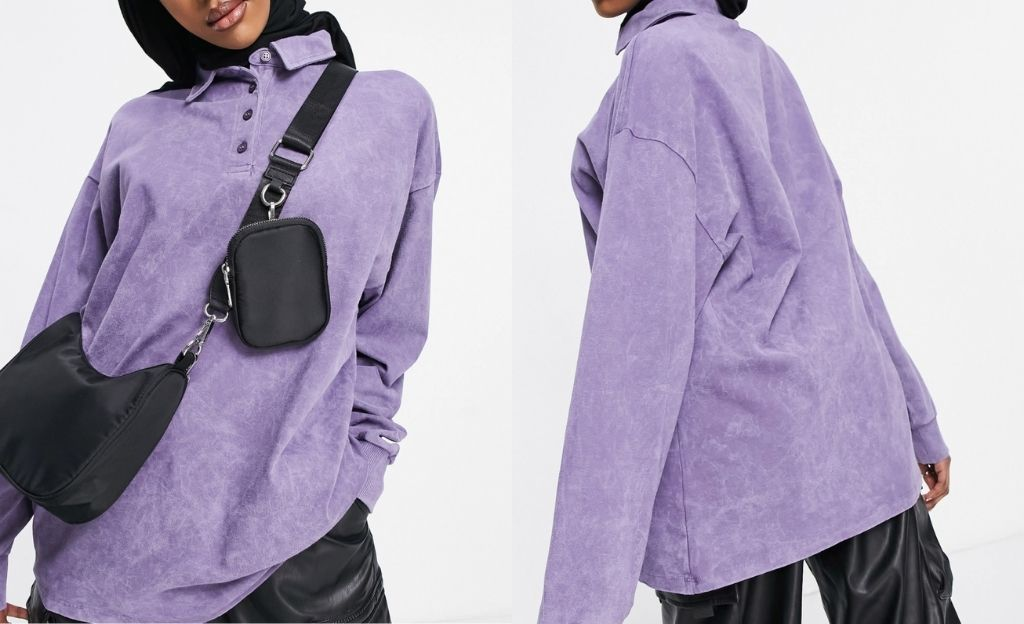Polo violeta lavado extragrande de manga larga de ASOS DESIGN