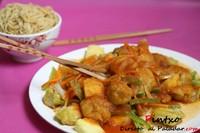 Receta de cerdo agridulce y noodles de huevo