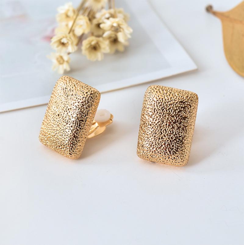 Clips de oreja rectangulares lindos para chicas pendientes cuadrados de clip para mujeres de boda pendientes de clip punk de oro sin agujero para mujeres