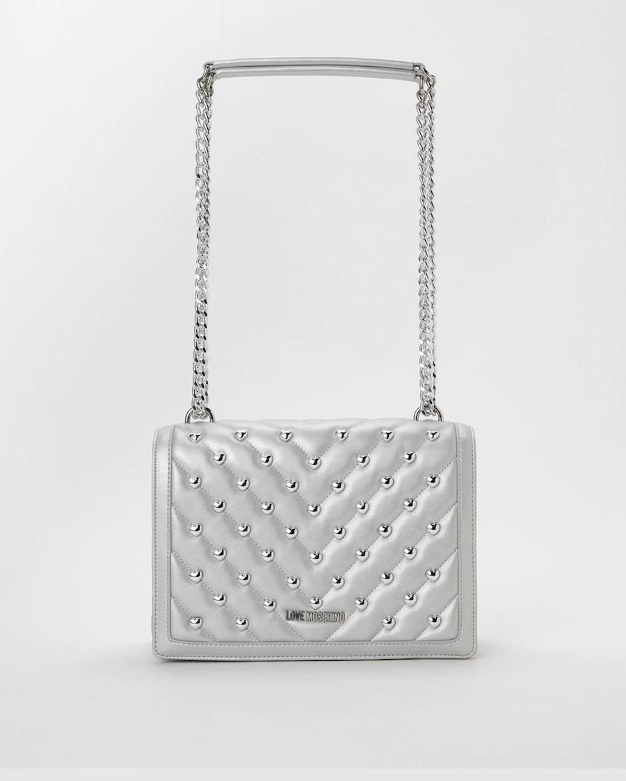 Bolso de hombro Love Moschino acolchado en plata con asas de cadenas