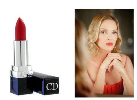 Barra de labios Dior rojo coral para Uma Thurman en la premiere de 'Melancholia' en Cannes 2011