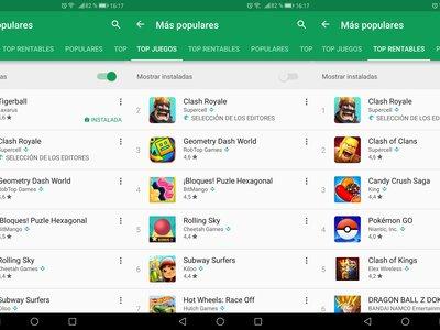 Google Play estrena la opción de ocultar las apps instaladas en la lista de populares