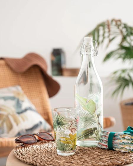 Vaso De Cristal Con Estampado Tropical Verde Y Rosa