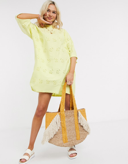 Asos Design Broderie Super Oversized T Shirt Dress In Lemon 1