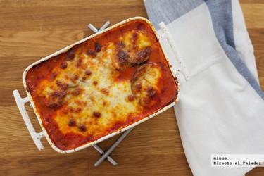 Asado de berenjena y mozzarella. Receta