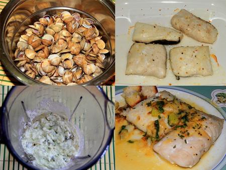Paso a paso de lomos de merluza acompañados de crema de almejas con nata de cocinar sin lactosa