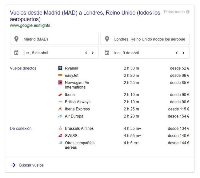 Busqueda Vuelos Google