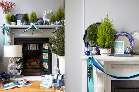 Decoración navideña para la chimenea