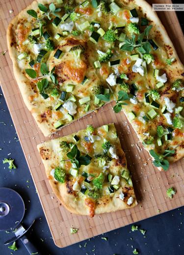 Pizza verde. Receta con y sin Thermomix
