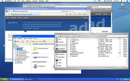 Parallels en Coherence Mode: Mac OS X + Windows XP simultáneamente