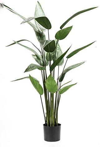 artplants.de Heliconia Artificial ANURIA, 22 Hojas, Verde, 125cm - Planta Tropical - Maceta Decorativa