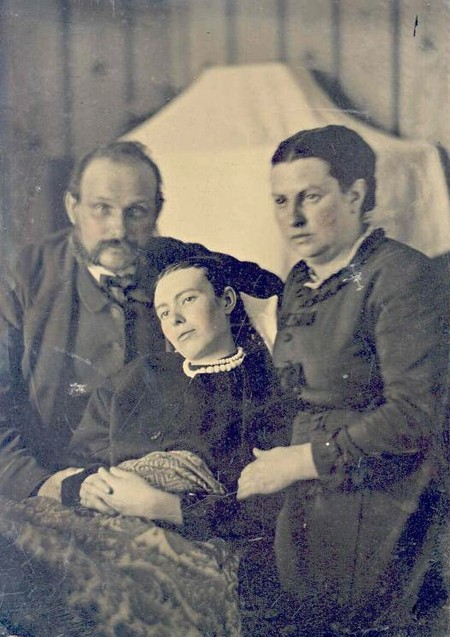 Victorian Era Post Mortem Family Portrait Of Parents With Their Deceased Daughter